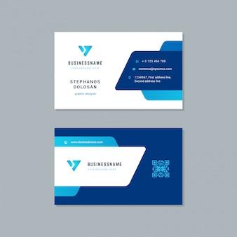 Design de cartão de visita modelo de cores azul na moda