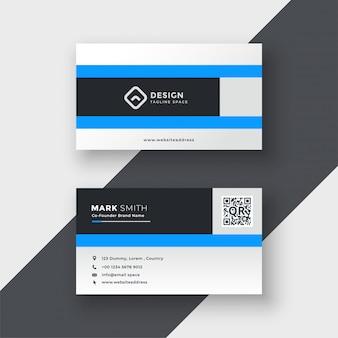 Design de cartão de visita moderno azul limpo