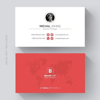Design de cartão de visita moderno e minimalista com detalhes vermelhos