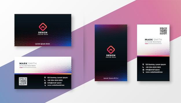 Design de cartão de visita moderno em estilo colorido de meio-tom