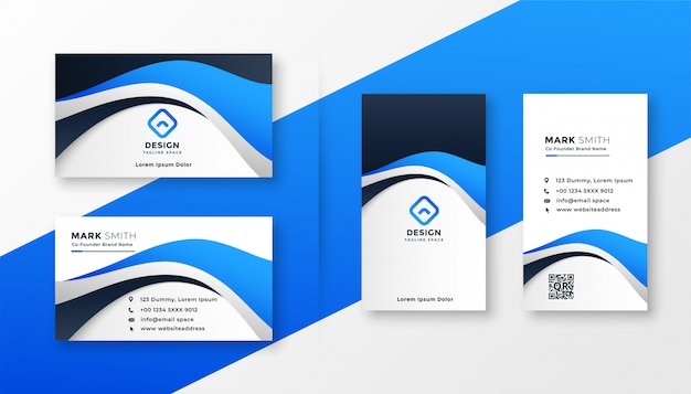 Design de cartão de visita moderno estilo onda azul