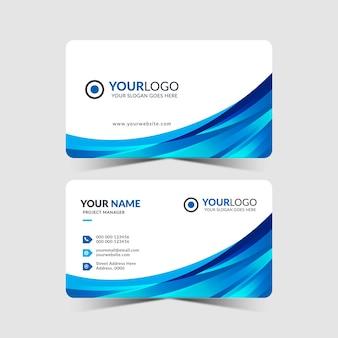 Design de cartão de visita moderno na cor azul