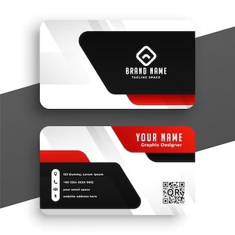 Design de cartão de visita moderno na cor vermelha preto e branco