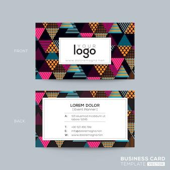 Design de cartão de visita moderno triângulo colorido