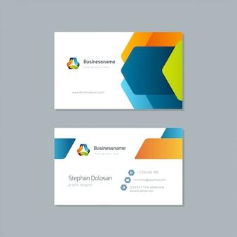 Design de cartão de visita na moda modelo colorido vector editável modelo 3,5 x 2 com sangria