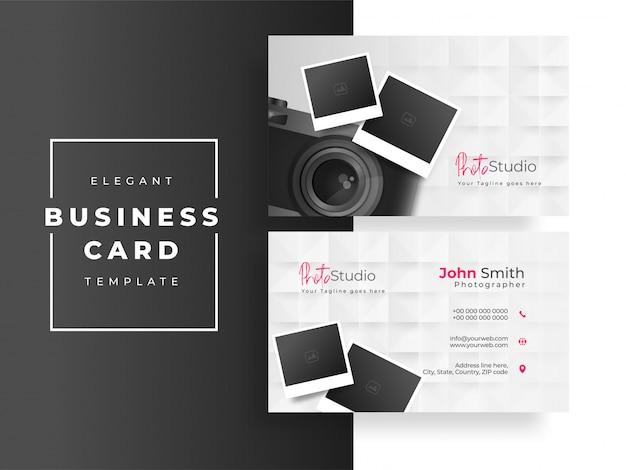 Design de cartão de visita ou cartão de visita do photo studio com câmera e fotografias em branco