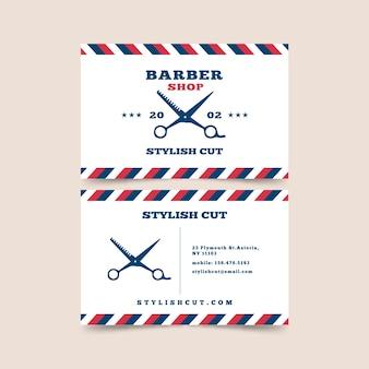 Design de cartão de visita para barbearia com tesoura