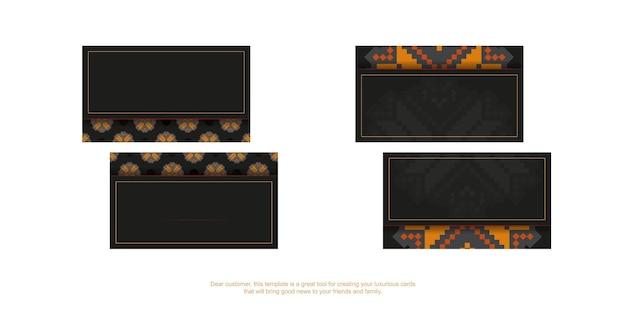 Design de cartão de visita preto com ornamento eslavo laranja. cartões de visita elegantes com espaço para seu texto e padrões luxuosos.