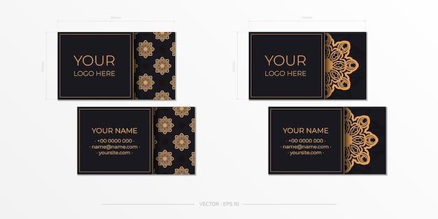 Design de cartão de visita preto com ornamentos vintage. cartões de visita de vetor com padrões gregos.