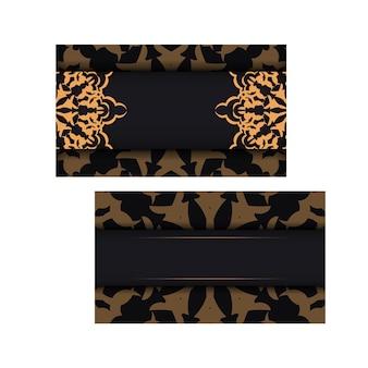 Design de cartão de visita preto com padrões luxuosos. cartões de visita de vetor com lugar para o seu texto e ornamentos vintage.