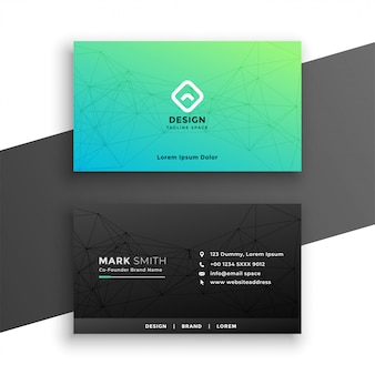 Design de cartão de visita preto e turquesa