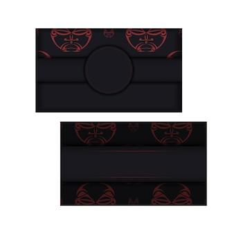 Design de cartão de visita preto pronto para impressão com padrões de máscara dos deuses. modelo de cartão de vetor com lugar para o seu texto e rosto em ornamento de estilo polizenian.