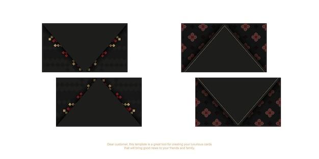 Design de cartão de visita preto pronto para impressão com padrões eslavos. modelo de cartão com lugar para o seu texto e ornamentos luxuosos.