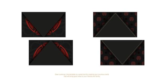 Design de cartão de visita pronto para imprimir com espaço para seu texto e rosto em padrões de estilo polizeniano. um conjunto de cartões de visita pretos com máscara dos ornamentos de deuses.