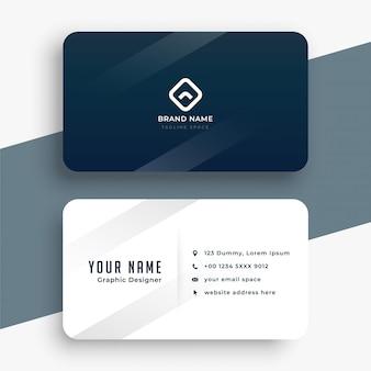 Design de cartão de visita simples em azul escuro e branco