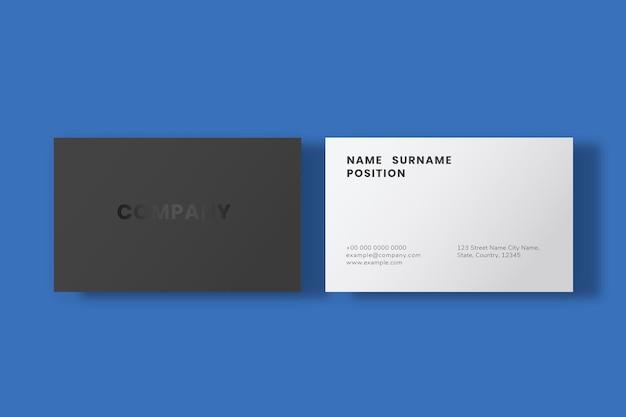 Design de cartão de visita simples em preto e branco minimalista com vista frontal e traseira