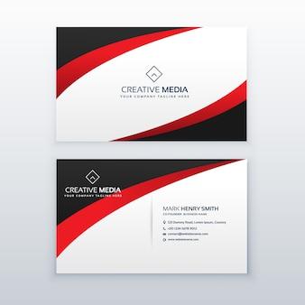 Design de cartão de visita vermelho com efeito de onda