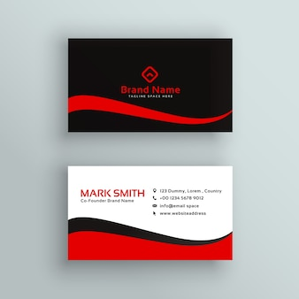 Design de cartão de visita vermelho e preto moderno