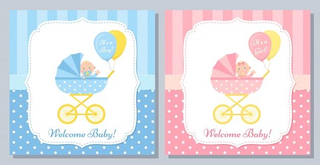 Design de cartão do chuveiro de bebê.