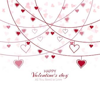 Design de cartão do dia dos namorados do coração bonito
