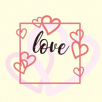 Design de cartão doce dia dos namorados com corações