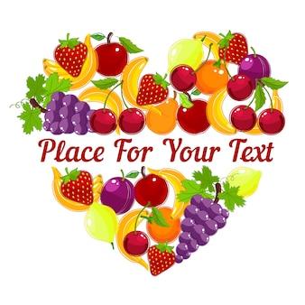 Design de cartão em forma de coração com frutas tropicais variadas frescas coloridas