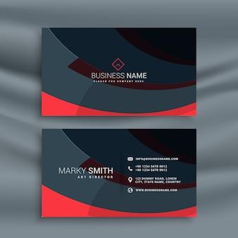 Design de cartão escuro com onda vermelha