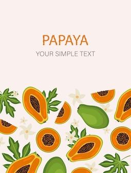 Design de cartão exótico de mamão em fundo pastel frutas orgânicas de verão