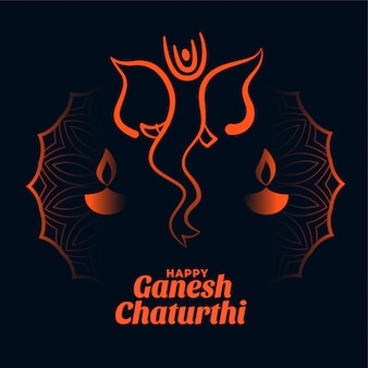 Design de cartão feliz festival ganesh chaturthi