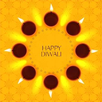 Design de cartão festival diwali criativo com decoração diya