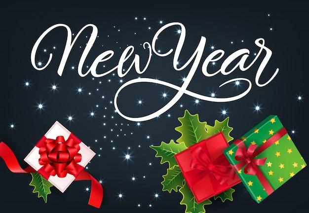 Design de cartão festivo de ano novo. presentes, fitas vermelhas