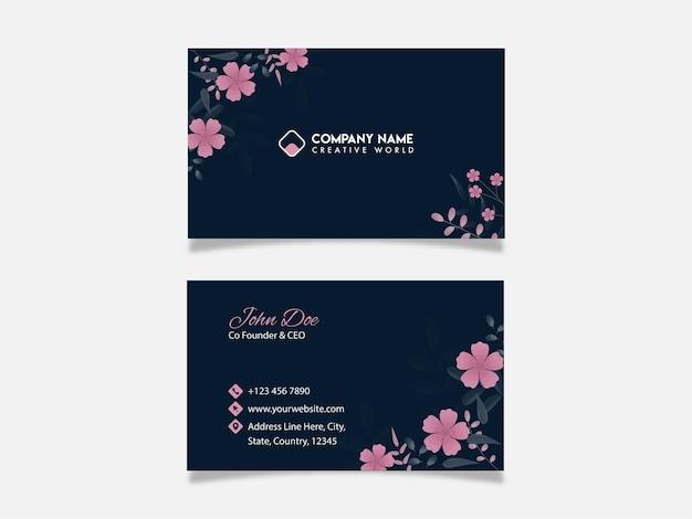 Design de cartão floral com frente e verso na cor azul.