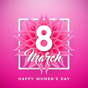 Design de cartão floral de dia feliz feminino