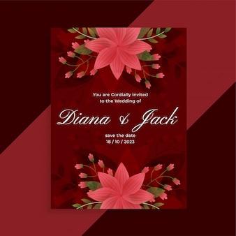 Design de cartão floral lindo convite de casamento vermelho