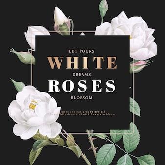 Design de cartão inspirado de rosas brancas