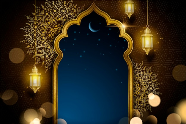 Design de cartão islâmico com arco dourado e lanternas penduradas, fundo de arabesco brilhante
