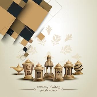 Design de cartão islâmico com lanternas de ouro
