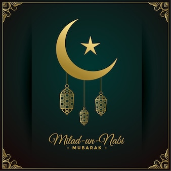 Design de cartão milad un nabi golden wish