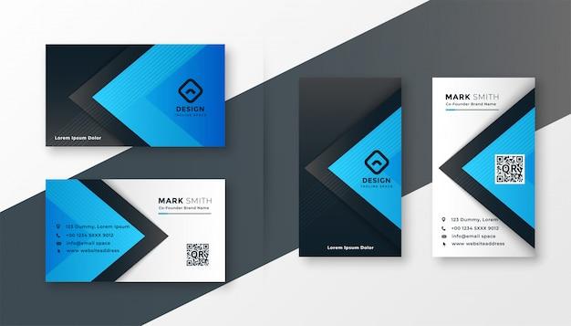 Design de cartão moderno azul elegante