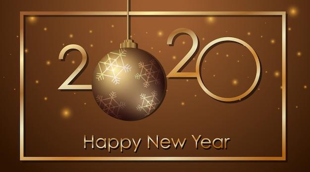Design de cartão para o ano novo 2020