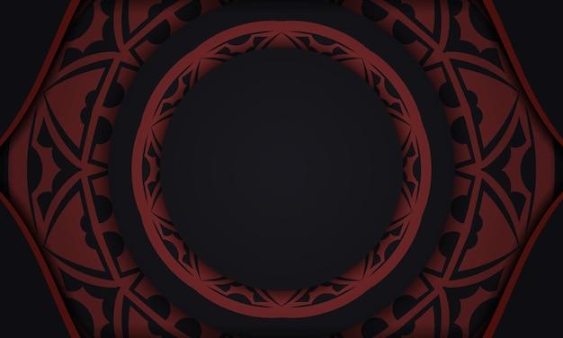 Design de cartão postal com ornamentos gregos. de fundo vector preto e vermelho com enfeites de luxo e lugar para o seu logotipo.