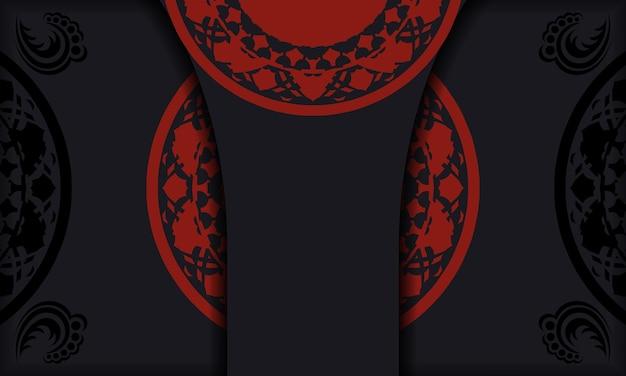 Design de cartão postal com padrões gregos. banner preto e vermelho com ornamentos luxuosos e lugar para o seu texto e logotipo.