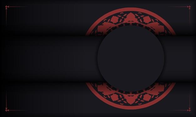 Design de cartão postal com padrões gregos. modelo de banner preto e vermelho com enfeites de luxo e lugar para o seu logotipo.