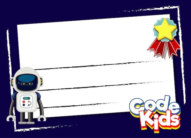 Design de cartão postal com robô e estrela