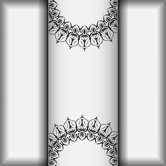 Design de cartão postal cores brancas com mandalas. cartão de convite de vetor com lugar para o seu texto e ornamento vintage.