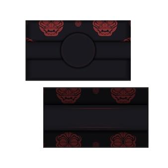 Design de cartão postal cores pretas com ornamento de dragão chinês.