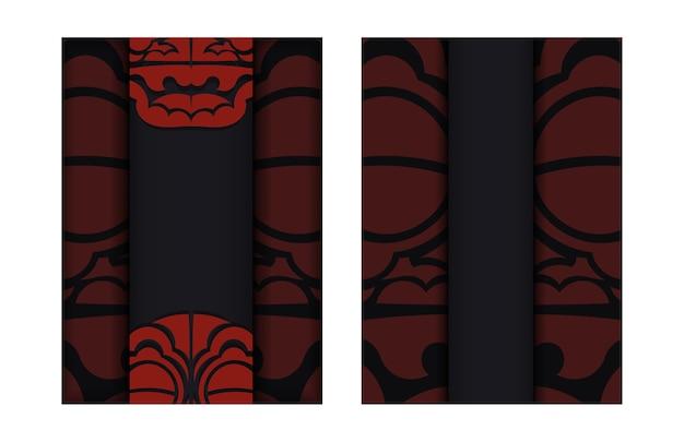 Design de cartão postal cores pretas com padrões de dragão chinês.
