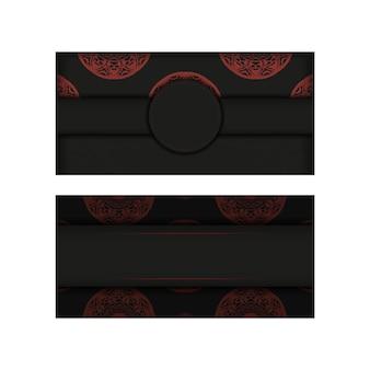 Design de cartão postal de cor preto e vermelho com padrões abstratos. cartão de convite de vetor com lugar para o seu texto e ornamento vintage.