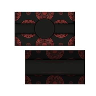 Design de cartão postal de cor preto e vermelho com padrões abstratos. design de cartão de convite com espaço para o seu texto e ornamentos vintage.