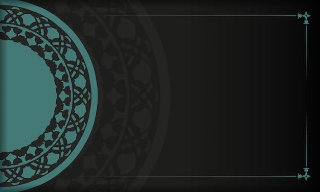 Design de cartão postal de vetor com padrões abstratos. banner preto com enfeites azuis gregos para seu logotipo
